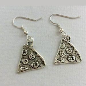 New Pizza Slice Silver Tone Dangle Earrings.